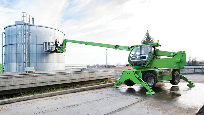 Telehandlers are prized for their flexibility on-site, whether moving material or putting workers in place with a platform.