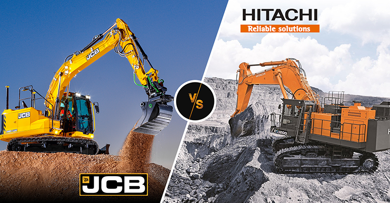 How is JCB different from Hitachi Construction Equipment