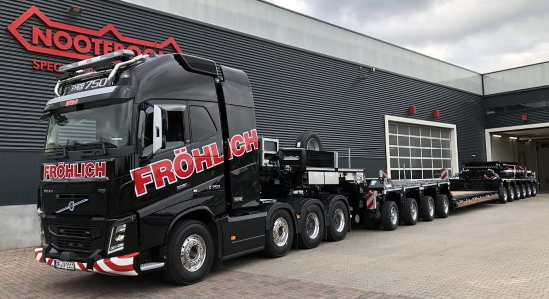 First Nooteboom 4+6 low loader combination in Germany for Fröhlich Bau Kran und Baustellenlogistik